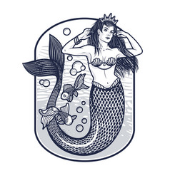 Mermaid girl with crown isolated vector