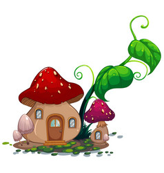 mushroom house with green leaves vector image vector image