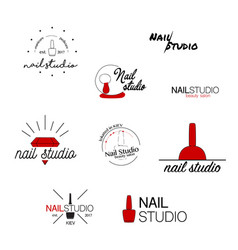 Nail studio icon beauty labels greeting vector