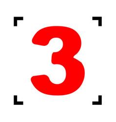 Number 3 sign design template element red vector