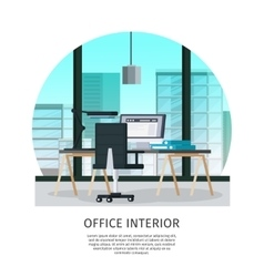 Office interior template vector