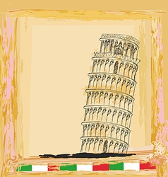 pisa tower vintage background vector image vector image