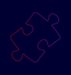 Puzzle piece sign line icon with gradient vector