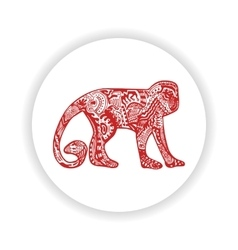 Red monkey with hand-drawn pattern vector