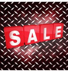 Red sale tabs over metallic diamond plaque vector