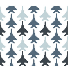 seamless pattern with jet fighters vector image
