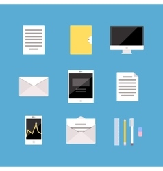 Set of office and business icons letter tablet vector