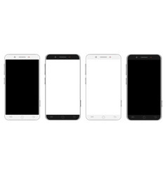 Set of white and black smartphones vector