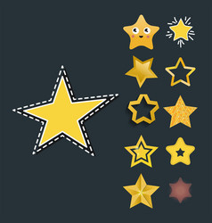 shiny star icons in different style pointed vector image vector image