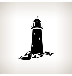 Silhouette lighthouse on a light background vector image vector image