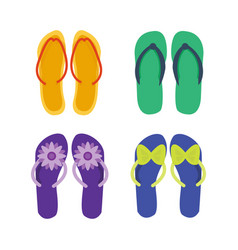 Slippers female multicolored isolated on white vector