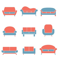 Sofa Icons Duotone vector image
