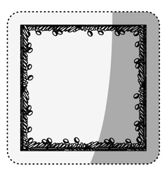 Sticker silhouette border with leaves and fruits vector