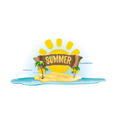 Summer label with island tropical beach vector