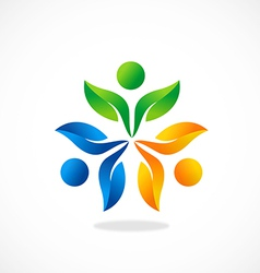 Three people ecology leaf circle logo vector