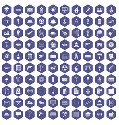 100 building materials icons hexagon purple vector