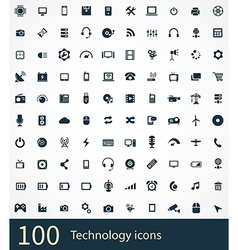 100 technology icons set vector image vector image
