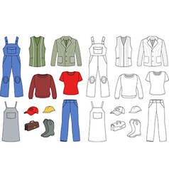 Worker plumber fashion set vector
