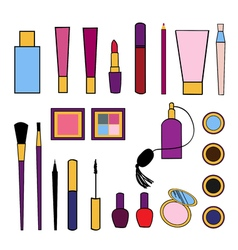Beauty and care cosmetics colorful isolated set vector