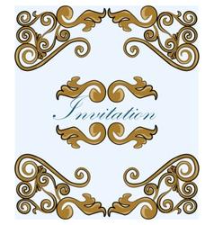 Gold damask ornament invitation vector image