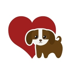 Dog domestic mammal red heart vector