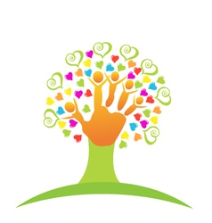 Tree children hands and love logo vector