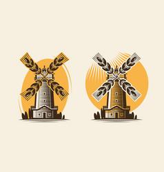 Mill windmill and ear wheat bakery farm vector
