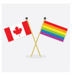 Crossed canada flag and colorful pride flag icons vector