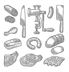 set meat products and kitchen equipment vintage vector image