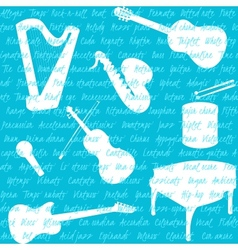 Seamless pattern with musical instruments and text vector