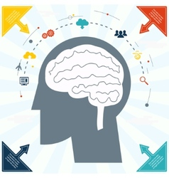 Flat Businessman Brain Headmind Social Network vector image