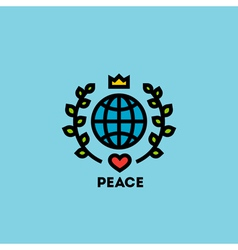 Peace day concept with globe green leaves vector image