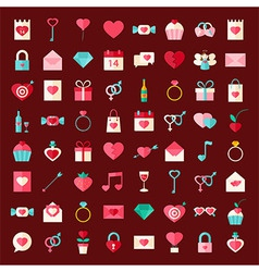Valentine day flat style icons vector