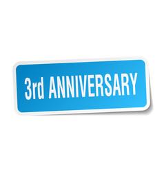 3rd anniversary square sticker on white vector