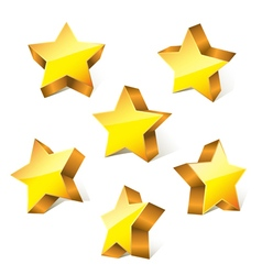 3d golden stars vector