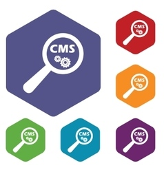 Cms search hexagon icon set vector