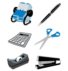 Office desk items vector