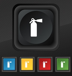 Fire extinguisher icon symbol set of five colorful vector
