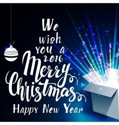 We wish you a merry christmas and open gift with vector