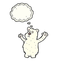 Cartoon funny polar bear with thought bubble vector
