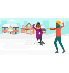 Women playing in snowballs vector