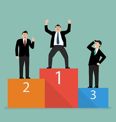 Winners businessman stand on a podium vector image