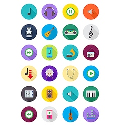 Color round music icons set vector