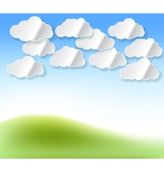 Paper white clouds vector