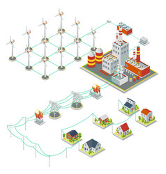 Windmil turbine power 3d isometric clean energy vector
