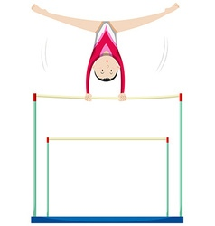 Woman athlete doing gymnastics on uneven bars vector