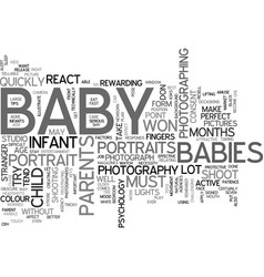 Baby photography text word cloud concept vector