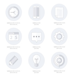 Business set of flat design icons line icons vector