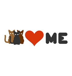 Cats love me Heart and pets Logo for cats owner vector image