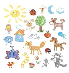 Childrens drawing doodle animals trees vector image vector image